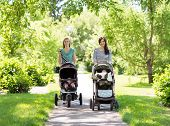 Portrait of happy mothers with their baby strollers walking together in park