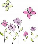 stock photo of butterfly flowers  - Vector - JPG