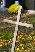 picture of crucifiction  - Cross with crucified Jesus Christ at cemetery - JPG