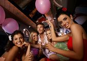 picture of hen party  - Hen party in limousine with attractive young people - JPG