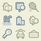 Real estate web icons, money color set