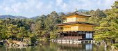 Panorama landscape of Golden Pavilion Kinkakuji Temple in Kyoto Japan