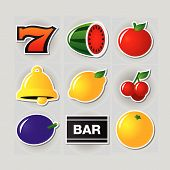 stock photo of slot-machine  - Symbols set 1 for slot machine in a casino - JPG