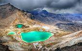 foto of emerald  - View at beautiful Emerald lakes on Tongariro Crossing track - JPG