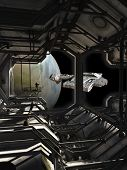 pic of spaceships  - Science fiction illustration of a spaceship leaving dock watched by a space marine guard - JPG