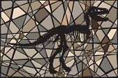 picture of dinosaur skeleton  - Editable vector mosaic illustration of the skeleton of a Tyrannosaurus rex dinosaur suggesting a fossil - JPG