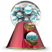 stock photo of gumballs  - Sugar word gum balls candy dispenser gumball machine - JPG