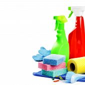 foto of cleaning agents  - Colorful cleaning products isolated over white background - JPG