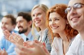 picture of seminar  - Photo of happy business people applauding at conference - JPG