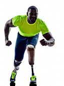 picture of artificial limb  - one muscular handicapped man starting line   with legs prosthesis in silhouette on white background - JPG