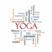 stock photo of pranayama  - Yoga Word Cloud Concept with great terms such as fitness peace pose and more - JPG