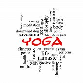 foto of pranayama  - Yoga Word Cloud Concept in red caps with great terms such as fitness peace pose and more - JPG