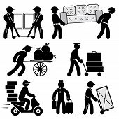 pic of rickshaw  - set black and white vector icons of loader people - JPG