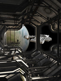 picture of spaceships  - Science fiction illustration of a spaceship leaving dock watched by a space marine guard - JPG