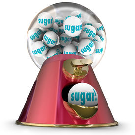 stock photo of gumball machine  - Sugar word gum balls candy dispenser gumball machine - JPG