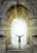 stock photo of gates heaven  - Man standing in front of the gate to heaven - JPG
