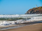 image of coast guard  - North Head Lighthouse in Viewed from Benson Beach on the Washington Coast USA - JPG