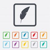 foto of light weight  - Feather sign icon - JPG