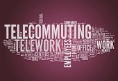 pic of telecommuting  - Word Cloud Image Graphic with Telecommuting related tags - JPG