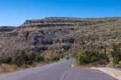 picture of guadalupe  - riding through the pinkish ridges of Guadalupe National park on motorhome Texas USA - JPG