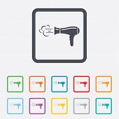 picture of hair blowing  - Hairdryer sign icon - JPG
