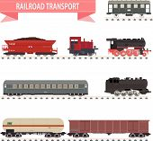 picture of caboose  - Set of different types of railway wagons - JPG