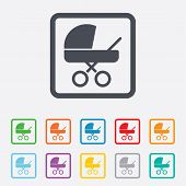 picture of buggy  - Baby pram stroller sign icon - JPG