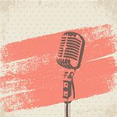 image of singer  - Retro Microphone Brush Stencil vector for use - JPG