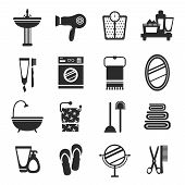 stock photo of wash-basin  - Bathroom icons black and white set with wash basin hairdryer weights cream isolated vector illustration - JPG