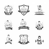 picture of muscle builder  - Bodybuilding fitness gym muscle athlete label black set isolated vector illustration - JPG