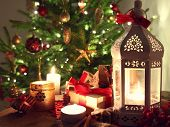 stock photo of desert christmas  - shining candles with christmas decorations - JPG