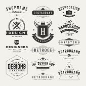 stock photo of flourish  - Retro Vintage Insignias or Logotypes set - JPG