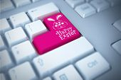 picture of keyboard keys  - easter bunny with greeting against pink enter key on keyboard - JPG
