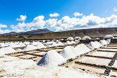 picture of salt mines  - salt piles in the saline of Janubio in Lanzarote - JPG