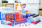 pic of microbiology  - microbiology items on laboratory table - JPG