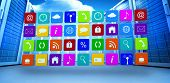 stock photo of wall cloud  - App wall against bright blue sky with clouds - JPG