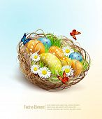 foto of nest-egg  - Vector Easter background with eggs and nest  - JPG