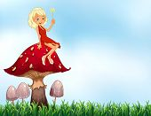 image of fairy-mushroom  - Fairy sitting on top of mushroom - JPG