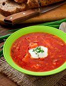 image of lenten  - Traditional Ukrainian Russian vegetable borscht soup on the old wooden background - JPG