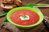 stock photo of lenten  - Traditional Ukrainian Russian vegetable borscht soup on the old wooden background - JPG