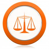 picture of justice law  - justice orange icon law sign  - JPG