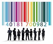 picture of encoding  - Bar Code Encoding Silhouette People Concept - JPG