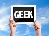 picture of dork  - Tablet pc with text Geek with sky background  - JPG