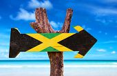 pic of jamaican flag  - Jamaica Flag sign with beach background  - JPG
