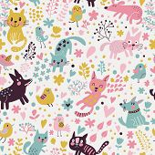 Постер, плакат: Sweet childish seamless pattern with birds cats and funny dogs in vector Seamless pattern can be u