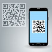 stock photo of qr codes  - Illustration of QR code and a smartphone with scanned code - JPG
