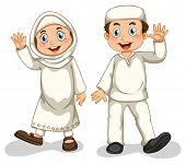pic of muslim  - Boy and girl muslims smiling - JPG