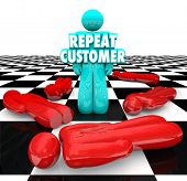 pic of clientele  - Repeat Customer words on a person standing as a loyal - JPG