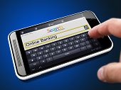 stock photo of electronic banking  - Online Banking on the Screen Touch Phone - JPG