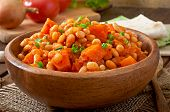 picture of lenten  - Stewed white beans and sliced pumpkin in tomato sauce - JPG